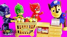 pj masks clothes puppies pj masks goes shopping with puppy pals paw patrol