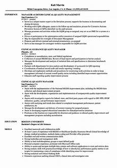 Clinical Trial Manager Resume Clinical Quality Manager Resume Samples Velvet Jobs