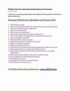 Frequently Asked Interview Questions And Answers 20 Best Common Job Interview Questions And Answers
