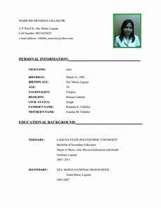 Example Of Curriculum Vitae For Job Application Curriculum Vitae