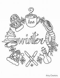 Ausmalbilder Winter Ausdrucken Free Winter Coloring Page Artzycreations