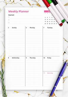 Weekly Business Planner Download Printable Colored One Page Weekly Planner Pdf