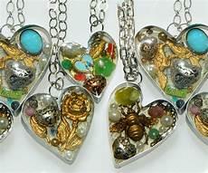 handmade bezel resin hearts