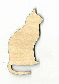 Cat Shapes To Cut Out Sitting Cat Kitty Unfinished Wood Shapes Craft Supplies