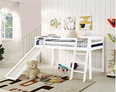bunk bed mid sleeper with slide and ladder wooden