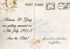 Wedding Save The Date Postcards Knots And Kisses Wedding Stationery Vintage Postcard