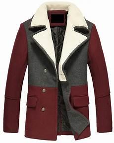 burgundy pea coats for fashion 2 tone style burgundy grey thick wool pea