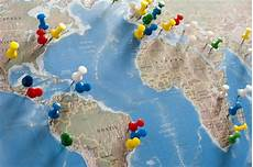 Printable Map With Pins Image Of Colorful Pins Locating Destinations On World Map