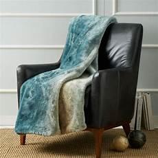 turquoise dip dyed faux fur throw