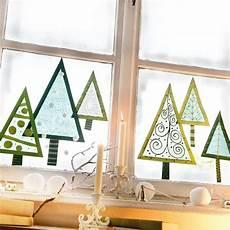 Fensterbilder Weihnachten Vorlagen Tannenbaum Window Trees Tonpapier Ausschneiden Transparentpapier