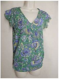 Sweet Pea By Frati Size L Green Multicolor V Neck