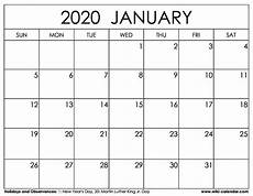 January 2020 Calendar Download Free Printable January 2020 Calendar