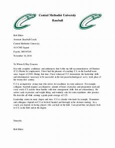 baseball letter of recommendation letter of recommendation