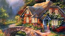 Beautiful Cottage Painting Summer Creek Cottage Beautiful Flowers