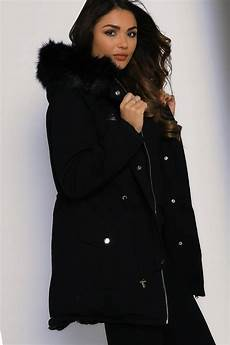 coats with all fur one faux fur hooded coat black lasula