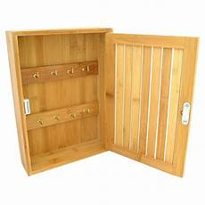 bamboo wooden 8 hook wall mounted key stotage box cupboard