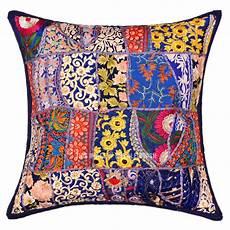 Sofa Pillows 18x18 Set Of 4 3d Image by 18x18 Multi Patchwork Bohemian Blue Decorative Pillow