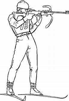 biathlet mit gewehr ausmalbild malvorlage sport