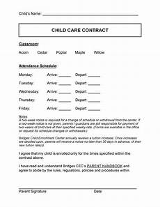 Home Daycare Contracts Samples 50 Daycare Child Care Amp Babysitting Contract Templates