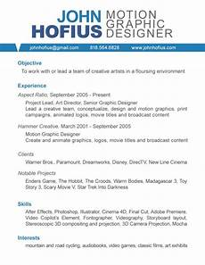 Motion Graphics Cv Good Objective Graphic Design Resume