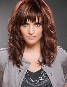 cute hairstyles for medium curly hair with side bangs
