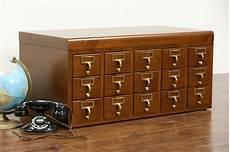 desktop card file cabinet 15 3x5 drawers 1950 vintage