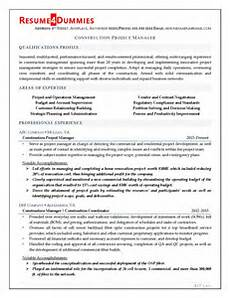 Project Manager Construction Resume Construction Project Manager Resume Resume4dummies