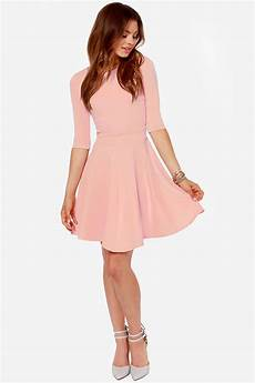 What Color Heels With Light Pink Dress Cute Pink Dress Skater Dress Dress With Sleeves 49 00