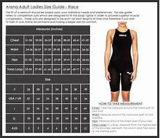 Swim And Sweat Size Chart Sizing Charts Arena Swimwear