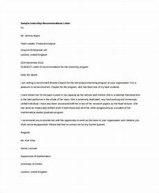 Internship Recommendation Letter Sample Free 36 Recommendation Letter Format Samples In Ms Word Pdf