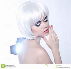 fashion beauty portrait of woman with white short hair
