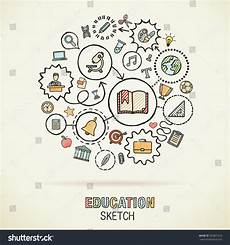 education drawing connected icons vector doodle