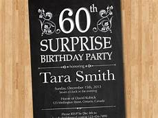 Free Surprise Birthday Party Invitations 60th Surprise Birthday Invitation Chalkborad Birthday Party