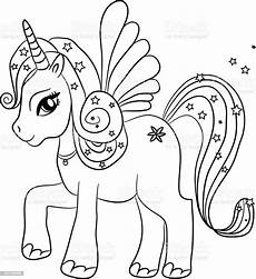 unicorn coloring page for stock illustration
