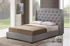 gray grey linen platform bed frame w tufted