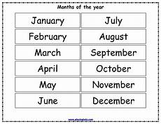Printable Month Free Printable Months Of The Year Chart Months In A Year