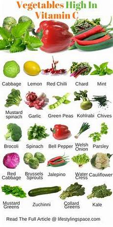 Vitamin C In Vegetables Chart Printable One Page List Of High Calorie Foods Tad
