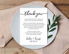 Wedding Thank You Card Examples Thank You Place Setting Wedding Thank You Card Wedding Table