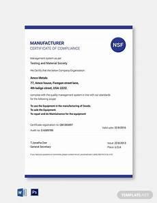 Certificate Of Manufacture Template Municipal Certificate Of Compliance Template Word Psd