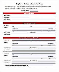 Employment Contact Form Free 9 Sample Employment Information Forms In Pdf Ms Word