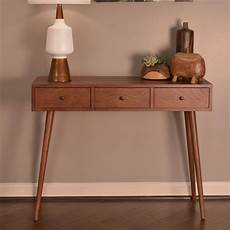 decor therapy mid century walnut 3 drawer console table