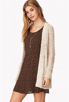 lyst forever 21 soft cable knit cardigan in