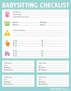 Babysitting Application Form Printable Babysitting Checklist Have Parents Fill Out