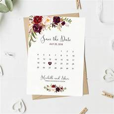 Save The Date Calendar Save The Date Card Floral Calendar Save The Date Etsy