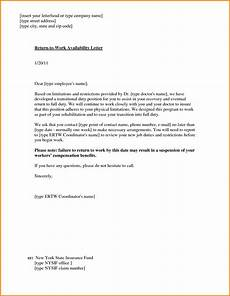 Return To Work Note Template Return To Work With Restrictions Letter