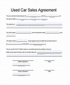 Used Vehicle Purchase Agreement Free 41 Contract Forms In Pdf
