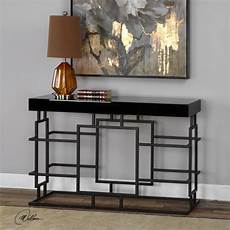 new black metal with rust details console sofa table black