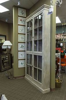 painted and glazed shallow display cabinet at