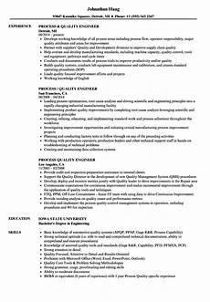 Quality Engineer Sample Resume Process Quality Engineer Resume Samples Velvet Jobs