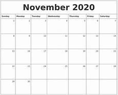 November 2020 Calendar Printable Free November 2020 Monthly Calendar